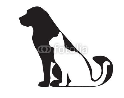 Black silhouette of dog and white cat isolated on white