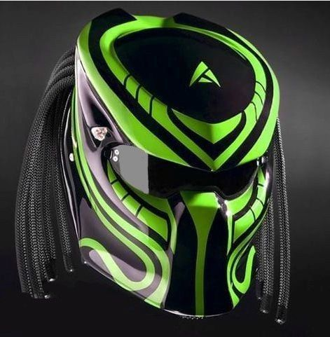 THE AWESOME PREDATOR HELMET STREET FIGHTER MOTORCYCLE STYLE DOT APPROVED #CELLOS