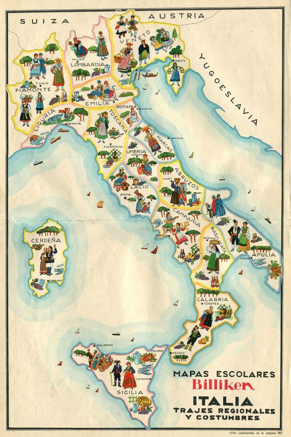 Vintage Map of Italy  Illustrated School Map by CarambasVintage