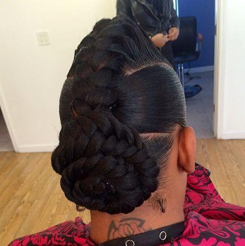 mohawk braid and low braided bun updo