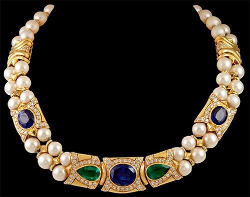 BULGARI Sapphire,Emerald,Diamond & Pearl Necklace