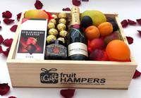 Moet Gourmet Fruit Hamper Box with Chocolates + Wild Hibiscus Flowers