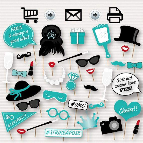 Breakfast at Tiffany's Party Printable Photo Booth Props -  Tiffany's Bachelorette Party - Tiffany's Party - Bridal Shower- Instant download