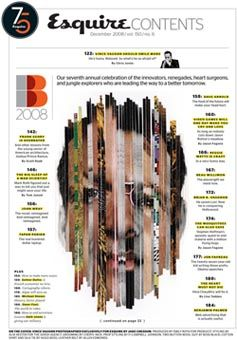 This is a very interesting table of contents. I think it fits the theme of the magazine. I like that the face is made up of different faces. It looks really neat. I think they did a good job laying out the departments/featured articles. I also like that they highlighted the title/important words.