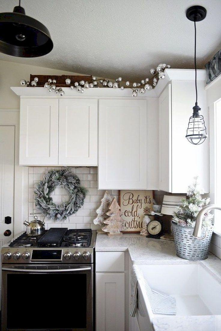 Lovely Farmhouse Style Kitchen For Christmas Weihnachtsdekoration Deko Wohnung Weihnachten Wohnung Weihnachten