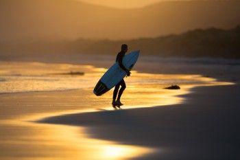 Eamonn Mulqueen on the beach at dusk at Blackhead Beach, Dunedin, New Zealand. - Buy this print | Box of Light - Surf + Lifestyle + Mountains