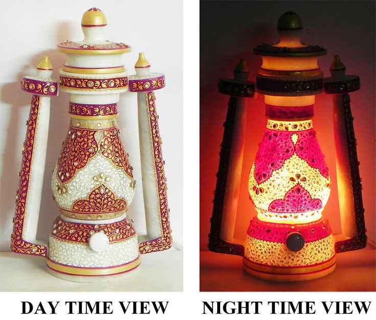 Lantern Shaped Decorated Marble Table Lamp with Mughal Carving - (Can be Dismantled) (Marble))