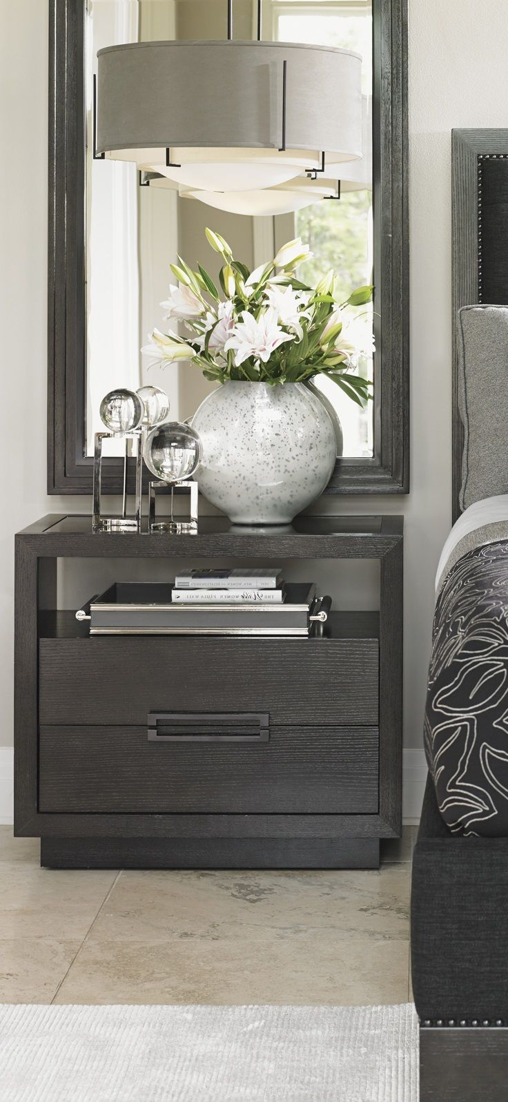 Grey Nightstand. Bedroom Decor Ideas. Luxury Furniture. Interior Design  Ideas. Home Decor