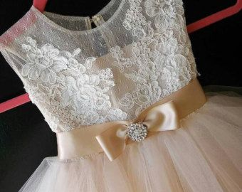 Stunning ivory 'Belle' flower girl dress ivory от somsicouture
