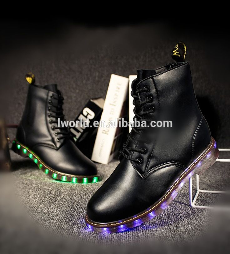 Popular led shoes leather boots design customized led shoes for Christmas gift shoes with led light
