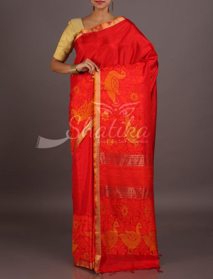 Vanita Fiery Plain Orange Lace Border Attractive Pure Mulberry Silk Saree