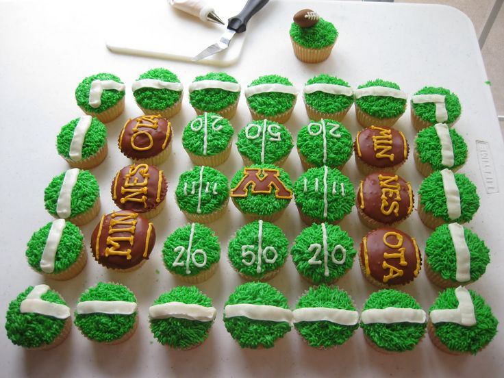 Football Cupcakes..except for the Minnesota part :/ Go Badgers!