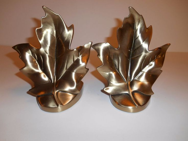 PM Craftsman Solid Brass Leaf Bookends Heavy, Well Made, Never Used