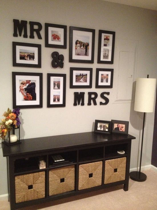 Display your wedding photos. I think I'd change the font of the letters.