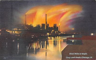 GARY IN 1945 Steel Mills @ Night near Chicago VINTAGE STEEL PRODUCTION GEM+++