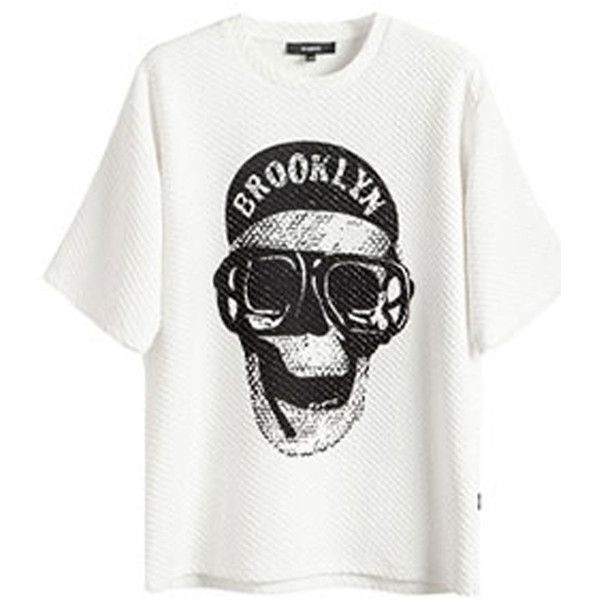 Choies White Skull Print Half Sleeve Oversize T-shirt ($21) ❤ liked on Polyvore featuring tops, t-shirts, shirts, tees, white, oversized tee, oversized shirt, elbow sleeve tee, skull shirt and white t shirt