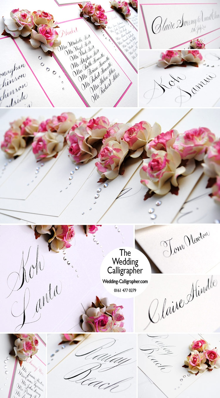 Wedding table plan with roses and spencerian calligraphy