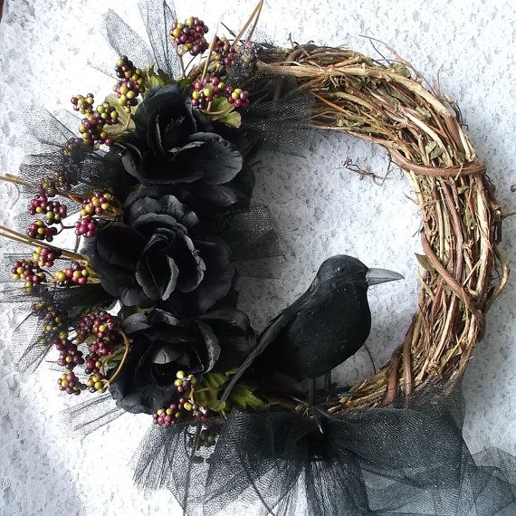 Raven Wreath, Crow Wreath, Pagan Wreath, Fall Wreath, Samhain Wreath, Black Rose Rustic on Etsy, $19.99