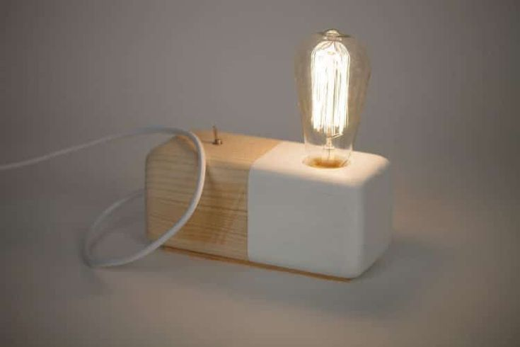 Wood Modern Handmade Table Block Lamp Desk Lamps Wood Lamps