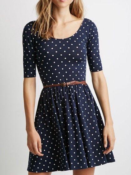 Navy, Polka Dot Print, Backless, Belt Waist, Skater Dress