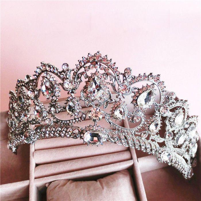 Barok Queen's crown strass haar ornamenten sieraden Europese prinses bruid bruiloft hoofdtooi bruiloft haar sieraden