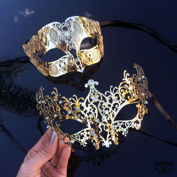 Gold Couple's Masquerade Mask Set - His & Hers Mask [Gold Themed] - Bestselling Men's and Lady's Laser Cut Mask, Couples Mask Set