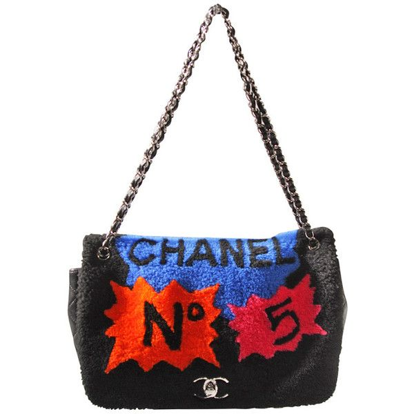 Pre-owned Chanel Shearling Art Pop Large Purse with Quilted Lambskin... found on Polyvore