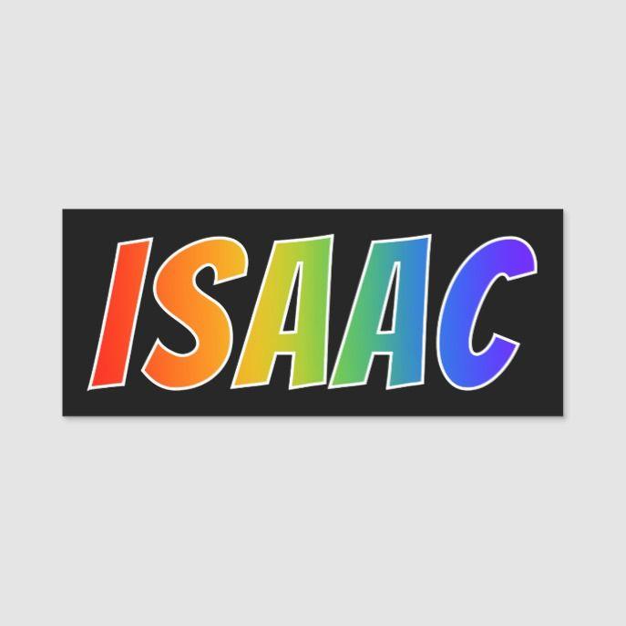 First Name Isaac Fun Rainbow Coloring Name Tag Zazzle Com Name Tag Design Name Tags First Names
