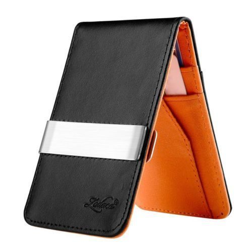 $5.99 Mens Genuine Leather Silver Money Clip Slim Wallets Black ID Credit Card Holder dealfomo