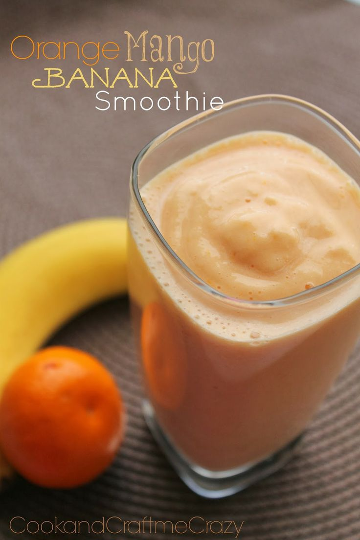Orange Mango Banana Smoothie - YUMMY!  http://cookandcraftmecrazy.blogspot.com/2014/01/orange-mango-banana-smoothie.html