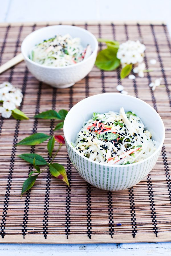 Bella Bonito: Rice Noodle Salad with Surimi and Cucmber /ft. Training Chopsticks