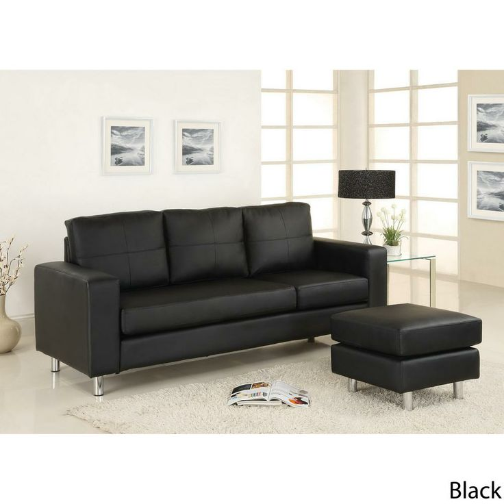 black leather living room furniture sets%0A Furniture  u     Design    Living room furniture    Sofas and Sets    Sectional  Sofas    Avon contemporary style black leather like vinyl Sectional sofa