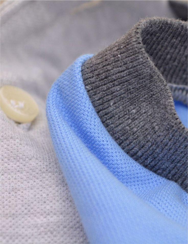 Camisa Polo Masculina Manga Color (Mescla Gelo c/ Azul Jeans)