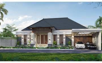 desain rumah villa bali 1.5 lantai bapak erik di pekanbaru