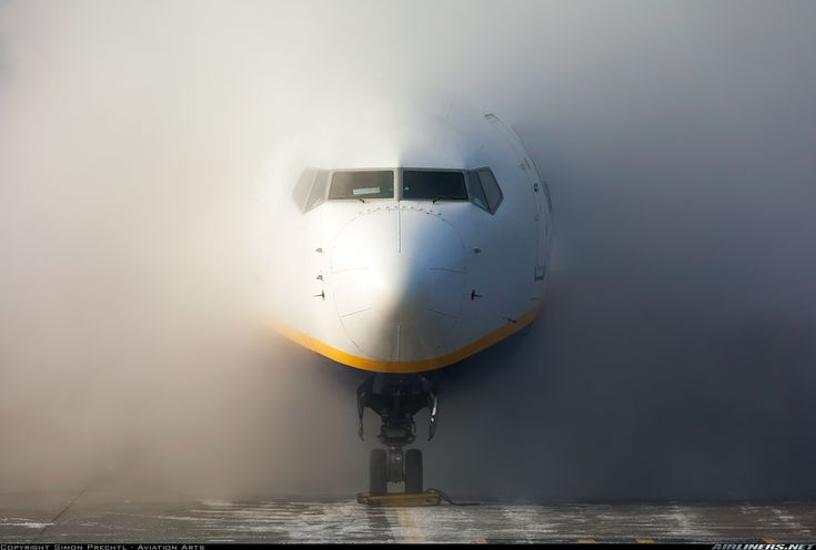 Diving out of the fog that is created by a full de-icing-service. On this day the weather was actually clear and sunny but with freezing temperatures. Therefore, the de-icing-liqud did not clear away but put apron and taxiway in very foggy conditions. I wasn't even able to see this 737 and a following Embraer 190 taxiing to the active. The photo captures flight FR1904 to London-Stansted. - Photo taken at Linz - Horsching (LNZ / LOWL / LOXL) in Austria on January 5, 2016.