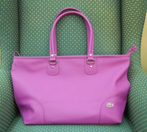The Lacoste shopping bag - big, bright, and purple. And waterproof.