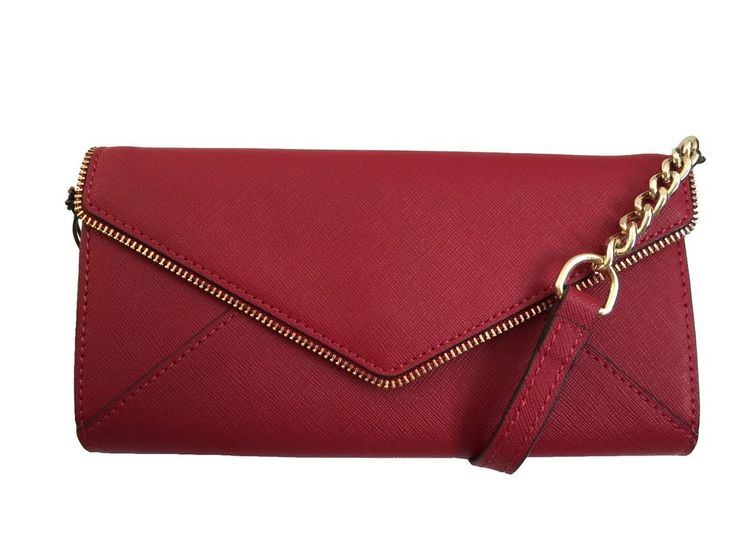 NWT REBECCA MINKOFF Leo Chain Wallet Red Leather Envelope Clutch Crossbody  Bag
