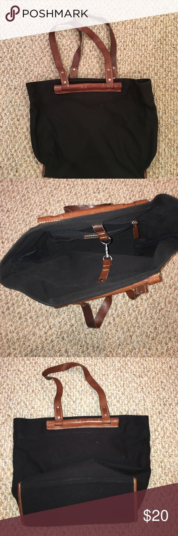 Love this tote bag used it as a work bag. This is a awesome work bag because it is sturdy and roomy. The straps are brown leather. Banana Republic Bags Totes