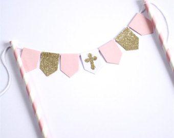 Bautismo bautizo cumpleaños banderines rosa por theLittlePaperStand