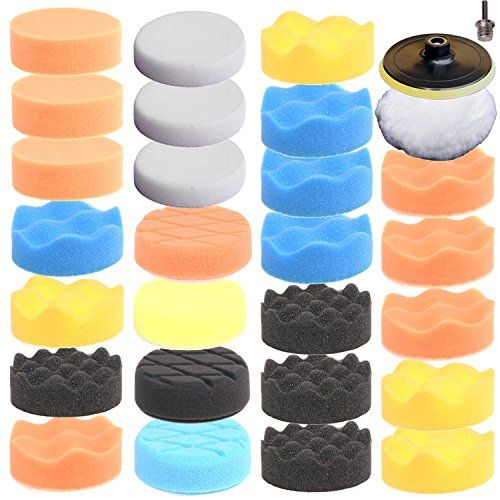 "ZFE 29pcs 80mm Higher gross Polish Polishing Buffer Pad Kit For Car Polisher Drill Adapter + 5/8 ""-11 thread. It is a car polishing and buffing kit.It is a car polishing and buffing set. High performance Waffle & Flat foam pad system. Polishing pad diameter: 3inch (80mm). Heavy cutting and polishing. 5/8 ""-11 threaded drill adapter."