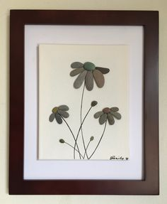 Pebble art flowers floating canvas framed by EmilysNatureEmporium