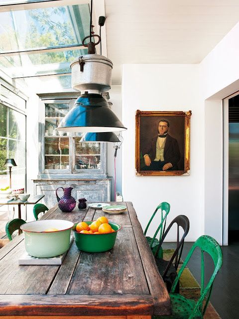I Love The Juxtaposition Of Modern House Filled With Rustic Furniture Like This Dining Table And Chairs That Are Green