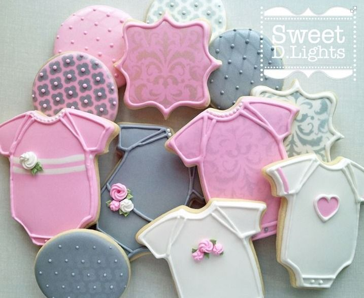 pink and gray baby shower cookies