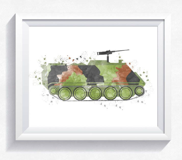 Military car, armored car print, military car printable, military wall art, army car print, watercolor car printable, boy room wall art by HappyLittleFrog on Etsy