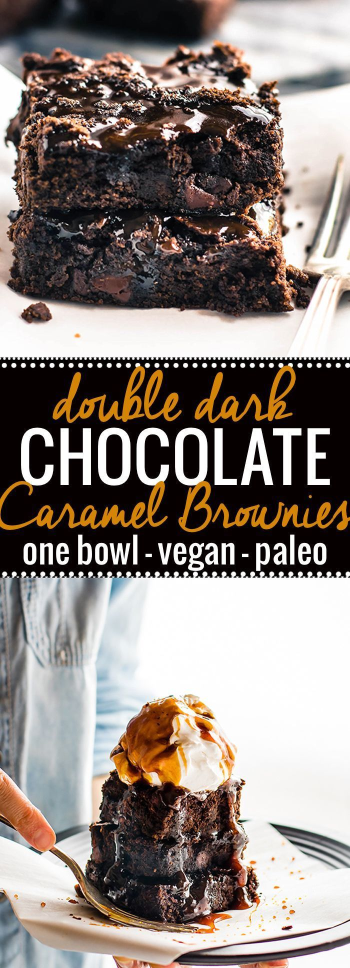 One bowl vegan desserts like these double dark chocolate salted caramel brownies are easy to make and paleo. These one bowl vegan brownies are made with two kinds of dark chocolate an topped with a dairy free salted caramel sauce. The perfect rich fudgy t