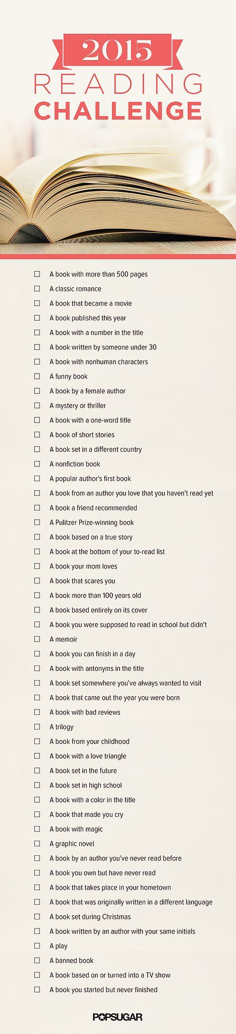 "Lot of these are ""every book will read this year"" - especially ""A book you own but haven't read yet"""