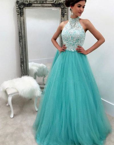 Prom Dresses ,prom gown, blue tulle lace long prom dress for teens, blue evening