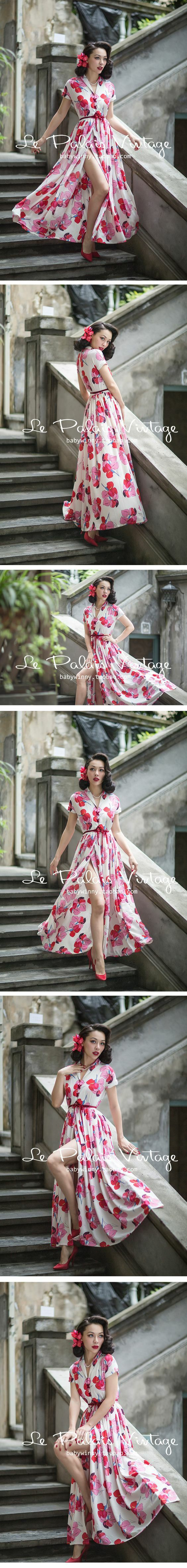 Rockabilly Pinup In Long Floral Dress