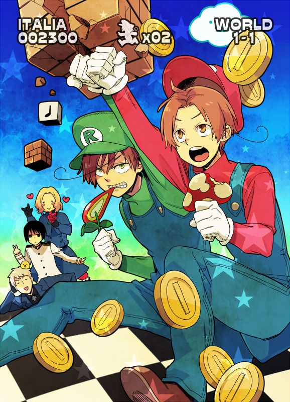 Super Italia Bros -- japan, france, and prussia are just aghhhh.... TOO CUTE!!!!!!