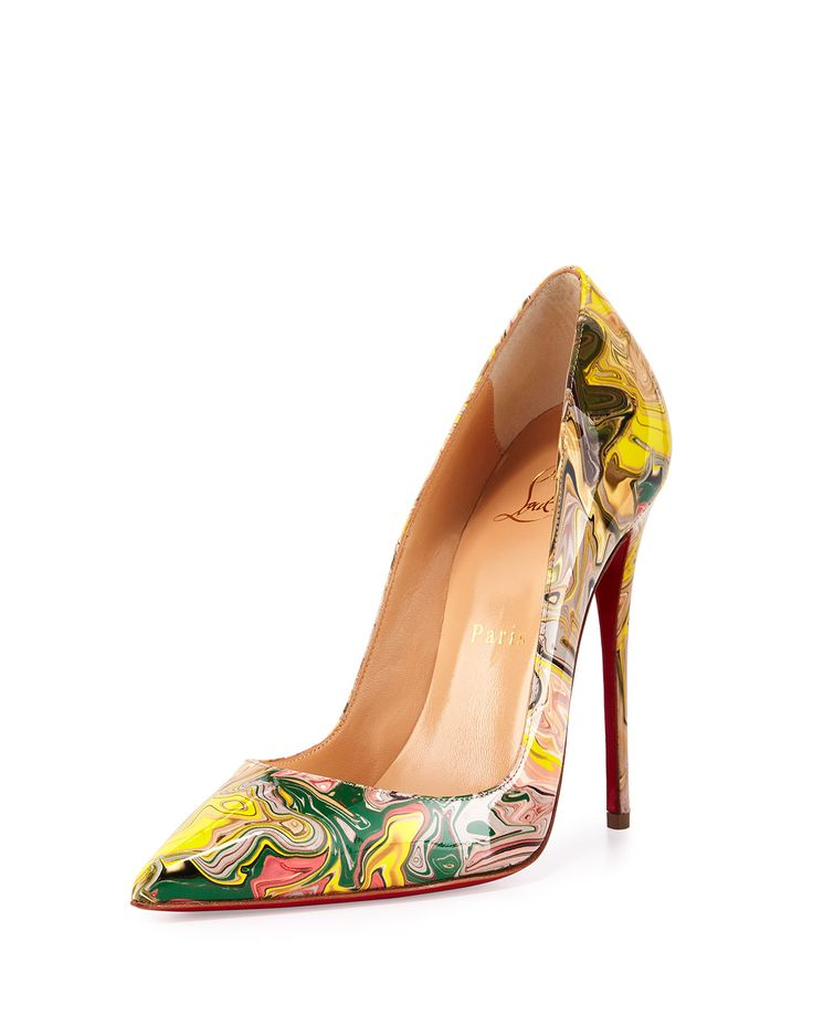 So Kate Marbled Red Sole Pump, Gray